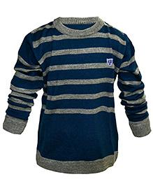 Via Italia Full Sleeves Sweater Stripes - Navy And Grey