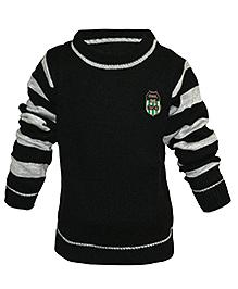 Via Italia Full Striped Sleeves Sweater - Black