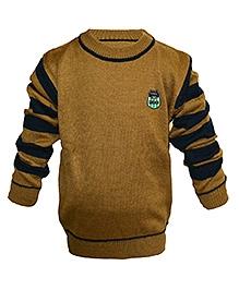 Via Italia Full Striped Sleeves Sweater - Brown