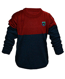 Via Italia Full Sleeves Two Colour Sweater - Navy And Red