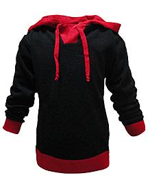 Via Italia Full Sleeves Hooded Sweater - Black