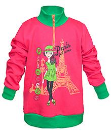 Cool Quotient Full Sleeves Sweatshirt Fuschia - Paris Princess print