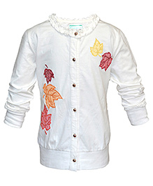Cool Quotient Full Sleeves Cardigan Off White - Maple Leaf Embroidery