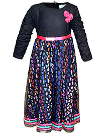 Cool Quotient Net Overlay Dress Full Sleeves - Black
