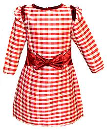 Via Italia Silk Check Dress Full Sleeves - Red