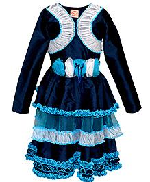 Via Italia Taffeta Party Dress With Shrug - Navy Blue