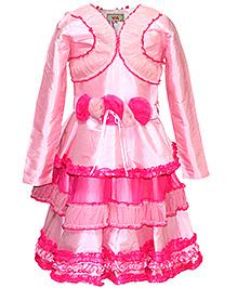 Via Italia Taffeta Party Dress With Shrug - Pink
