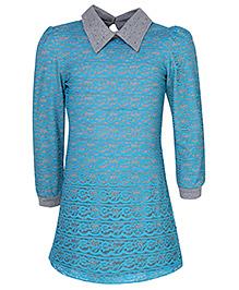 Via Italia Lace Jersey Underlayer Dress - Mint And Grey