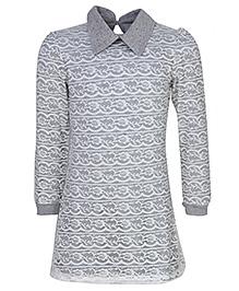 Via Italia Lace Jersey Underlayer Dress - White And Grey