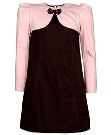Via Italia Party Dress With Shrug - Pink And Brown