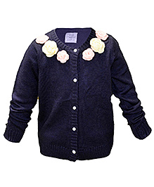 Via Italia Woolen Flower Design Cardigan - Bush Blue