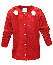 Via Italia Woolen Flower Design Cardigan - Deep Red