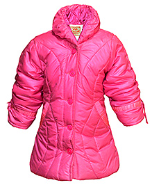 Via Italia High Neck Quilted Jacket - Fuchsia