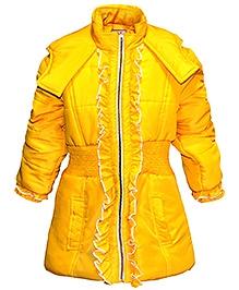 Via Italia Waist Smocking Front Frill Jacket - Yellow
