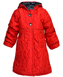 Via Italia Two Button Mock Quilted Long Jacket - Red
