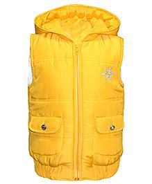 Via Italia Snowflake Quilted Hooded Sleeveless Jacket - Yellow