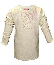 Via Italia Flower Sequin Sweater - Off White
