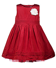 My Lil Berry Silk Party Dress Floral Motif - Red