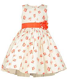 My Lil Berry Flower Tie Princess Dress - White And Orange