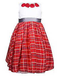 My Lil Berry Princess Dress Checks Rosette Detail - Red