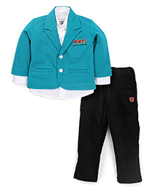 Active Kids Wear Shirt Pant With Jacket Active Kid Embroidery - White And Sky Blue