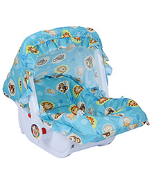 Fab N Funky Baby Carry Cot Blue - Animal Face Print