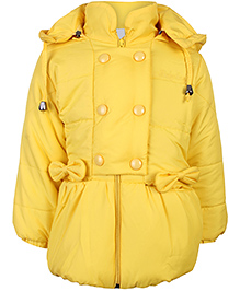 Babyhug Full Sleeves Hooded Quilted Jacket - Bow Applique