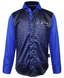 Finger Chips Full Sleeves Shirt Solid Sleeves Text Print - Blue
