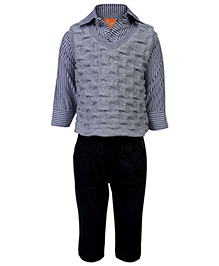 Little Kangaroos Full Sleeves Shirt And Trouser With Sweater - Grey And Black