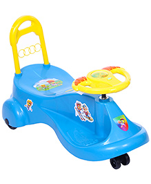 Fab N Funky Uni Ride Swing Car Twister - Blue And Yellow - All Over 77 X 36 X 50 Cm
