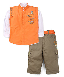 Active Kids Wear Shirt And Pant With Jacket - Embroidered Patch