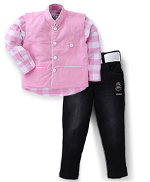 Active Kids Wear Shirt And Pant With Jacket AK Embroidery - Pink