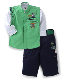 Active Kids Wear Shirt And Pant With Jacket Military Embroidery - Green