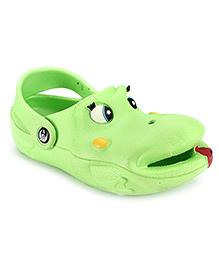 Bash Clog With Back Strap Green - Frog Face Design