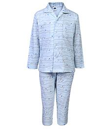 Teddy Full Sleeves Night Suit - Sky Blue