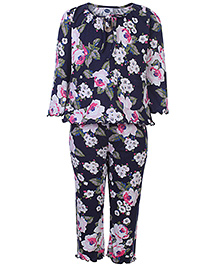 Teddy Full Sleeves Night Suit - Flowers Print