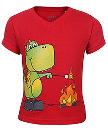 Babyhug Half Sleeves T-Shirt Red - Dinosaur Print