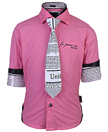 Finger Chips Full Sleeves Shirt With Tie - Text Print