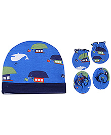 Babyhug Cap Mittens And Bootie Set - Ship Print