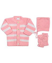 Babyhug Front Open Winter Wear Set Red - Pack of 3