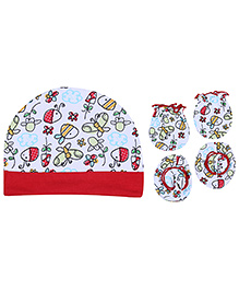 Babyhug Cap Mittens And Bootie Set - Butterfly Print