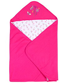 Babyhug 2 Ply Hooded Wrapper Pink And White - Embroidered