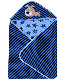 Babyhug 2 Ply Hooded Wrapper - Dark Blue