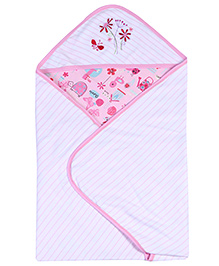 Babyhug 2 Ply Hooded Wrapper - Pink