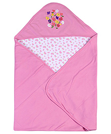 Babyhug 2 Ply Hooded Wrapper Pink - Floral Embroidery