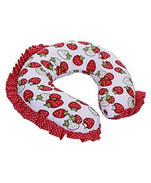 Babyhug Neck Pillow With Frills - Strawberry Print Red - 21 X 21 X 5 Cm