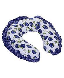 Babyhug Neck Pillow With Frills - Strawberry Print Blue - 21 X 21 X 5 Cm