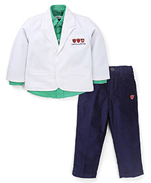 Active Kids Wear Shirt Pant With Jacket Active Kid Embroidery - White And Green