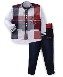 Active Kids Wear Shirt And Pant And Jacket Sports Club Embroidery - Maroon