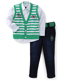 Active Kids Wear Shirt Jeans With Striped Jacket Clubhouse Print - Green And White